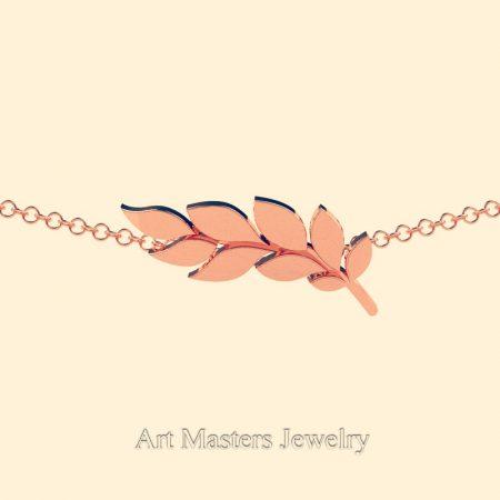 Classic-14K-Rrose-Gold-Laurel-Leaf-Necklace-Pendant-P800-14KSRG-3