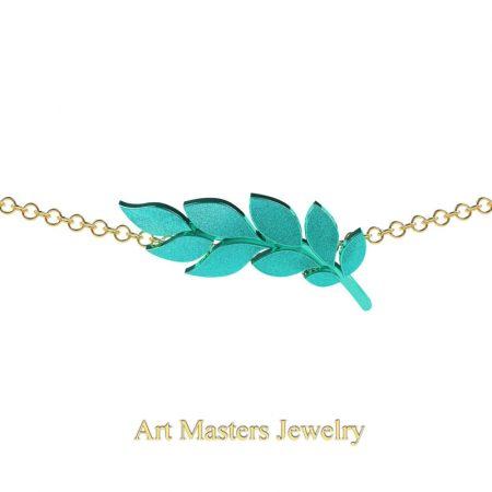 Classic-14K-Turquoise-Gold-Laurel-Leaf-Necklace-Pendant-P800-14KTYG-2
