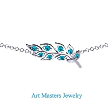 Classic-14K-White-Gold-Blue-Diamond-Laurel-Leaf-Necklace-Pendant-P800-14KWGBLD-2
