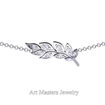 Classic-14K-White-Gold-Diamond-Laurel-Leaf-Necklace-Pendant-P800-14KWGD-2