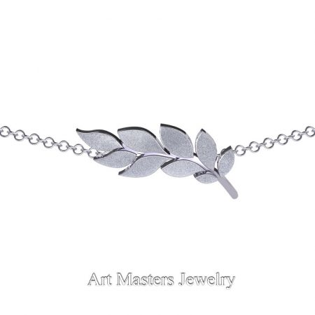 Classic-14K-White-Gold-Laurel-Leaf-Necklace-Pendant-P800-14KWG-3