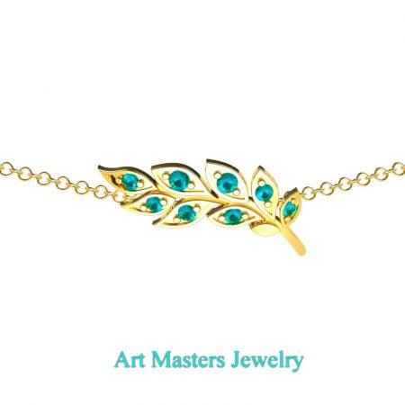 Classic-14K-Yellow-Gold-Blue-Diamond-Laurel-Leaf-Necklace-Pendant-P800-14KYGBLD-2
