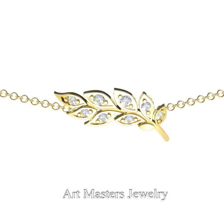 Classic-14K-Yellow-Gold-Diamond-Laurel-Leaf-Necklace-Pendant-P800-14KYGD