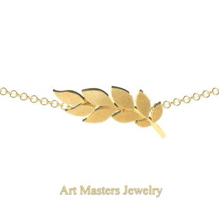 Classic-14K-Yellow-Gold-Laurel-Leaf-Necklace-Pendant-P800-14KSYG