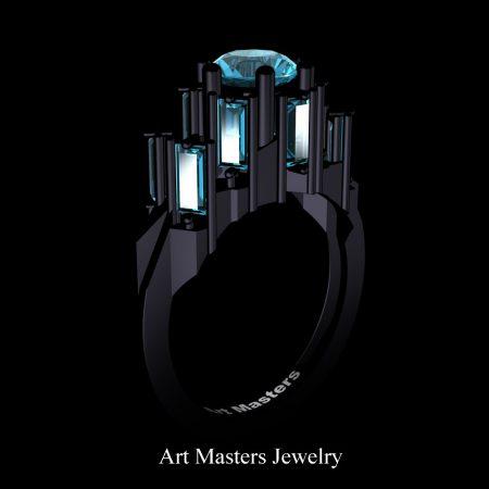 Gothic-Revival-14K-Black-Gold-3-0-Carat-Blue-Diamond-Engagement-Ring-R1130-14KBGBD