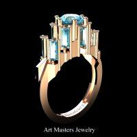 Avant Garde 14K Rose Gold 3.0 Ct Blue Diamond Baguette Cluster Engagement Ring R1130-14KRGBLD