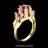 Gothic Revival 14K Yellow Gold 3.0 Ct Amethyst Baguette Cluster Engagement Ring R1130-14KYGAM