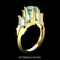 Avant Garde 14K Yellow Gold 3.0 Ct Blue Diamond Baguette Cluster Engagement Ring R1130-14KYGBLD
