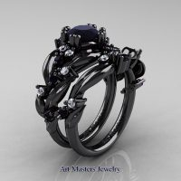 Nature Classic 14K Black Gold 1.0 Ct Black Diamond Leaf and Vine Engagement Ring Wedding Band Set R340S-14KBGDBD