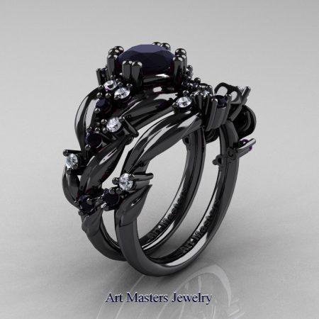 Nature-Classic-14K-Black-Gold-1-0-Ct-Black-Diamond-Leaf-and-Vine-Engagement-Ring-Wedding-Band-Set-R340S-14KBGDBD