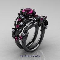 Nature Classic 14K Black Gold 1.0 Ct Pink Sapphire Diamond Leaf and Vine Engagement Ring Wedding Band Set R340S-14KBGDPS