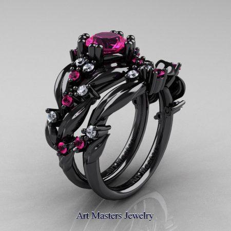 Nature-Classic-14K-Black-Gold-1-0-Ct-Pink-Sapphire-Diamond-Leaf-and-Vine-Engagement-Ring-Wedding-Band-Set-R340S-14KBGDPS