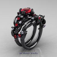 Nature Classic 14K Black Gold 1.0 Ct Ruby Diamond Leaf and Vine Engagement Ring Wedding Band Set R340S-14KBGDR