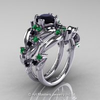 Nature Classic 14K White Gold 1.0 Ct Black Diamond Emerald Leaf and Vine Engagement Ring Wedding Band Set R340S-14KWGEMBD