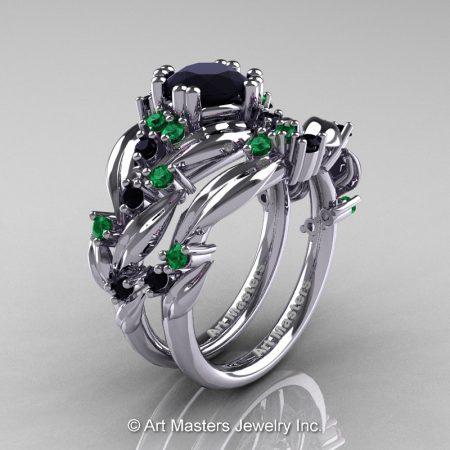 Nature-Classic-14K-White-Gold-1-0-Ct-Black-Diamond-Emerald-Leaf-and-Vine-Engagement-Ring-Wedding-Band-Set-R340S-14KWGEMBD