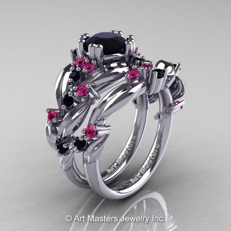 Nature-Classic-14K-White-Gold-1-0-Ct-Black-Diamond-Pink-Sapphire-Leaf-and-Vine-Engagement-Ring-Wedding-Band-Set-R340S-14KWGPSBD