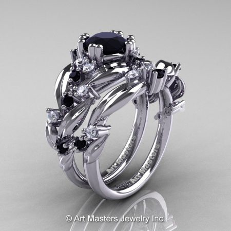 Nature-Classic-14K-White-Gold-1-0-Ct-Black-and-White-Diamond-Leaf-and-Vine-Engagement-Ring-Wedding-Band-Set-R340S-14KWGDBD