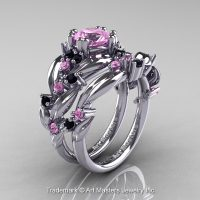 Nature Classic 14K White Gold 1.0 Ct Light Pink Sapphire Black Diamond Leaf and Vine Engagement Ring Wedding Band Set R340S-14KWGBDLPS