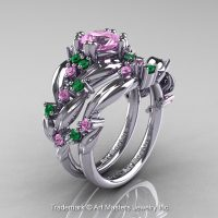 Nature Classic 14K White Gold 1.0 Ct Light Pink Sapphire Emerald Leaf and Vine Engagement Ring Wedding Band Set R340S-14KWGEMLSP
