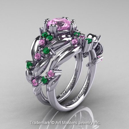 Nature-Classic-14K-White-Gold-1-0-Ct-Light-Pink-Sapphire-Emerald-Leaf-and-Vine-Engagement-Ring-Wedding-Band-Set-R340S-14KWGEMLPS