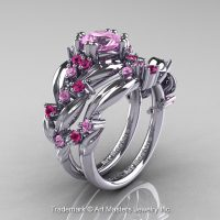 Nature Classic 14K White Gold 1.0 Ct Light Pink Sapphire Leaf and Vine Engagement Ring Wedding Band Set R340S-14KWGLPS