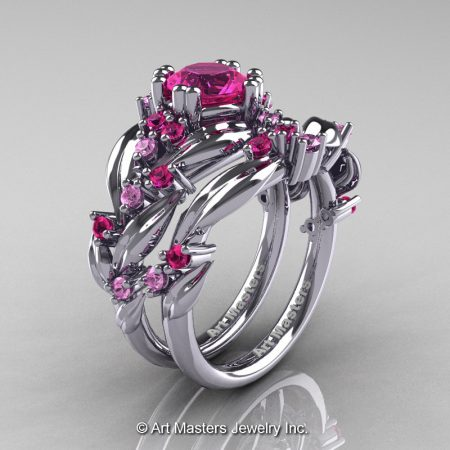 Nature-Classic-14K-White-Gold-1-0-Ct-Pink-Sapphire-Leaf-and-Vine-Engagement-Ring-Wedding-Band-Set-R340S-14KWGPS-P