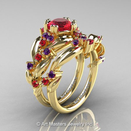 Nature-Classic-14K-Yellow-Gold-1-0-Ct-Ruby-Amethyst-Leaf-and-Vine-Engagement-Ring-Wedding-Band-Set-R340S-14KYGAMR