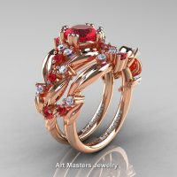 Nature Classic 14K Rose Gold 1.0 Ct Ruby Diamond Leaf and Vine Engagement Ring Wedding Band Set R340S-14KRGDR