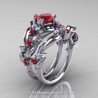 Nature Classic 14K White Gold 1.0 Ct Ruby Diamond Leaf and Vine Engagement Ring Wedding Band Set R340S-14KWGDR