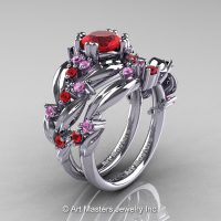 Nature Classic 14K White Gold 1.0 Ct Ruby Light Pink Sapphire Leaf and Vine Engagement Ring Wedding Band Set R340S-14KWGLPSR