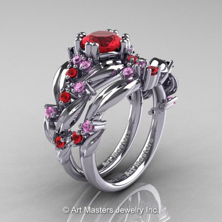 Nature-Inspired-14K-White-Gold-1-0-Ct-Ruby-Pink-Sapphire-Leaf-and-Vine-Engagement-Ring-Wedding-Band-Set-R340SS-14KWGLPSR-P