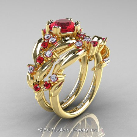 Nature-Inspired-14K-Yellow-Gold-1-0-Ct-Ruby-Diamond-Leaf-and-Vine-Engagement-Ring-Wedding-Band-Set-R340SS-14KYGDR