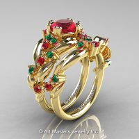 Nature Classic 14K Yellow Gold 1.0 Ct Ruby Emerald Leaf and Vine Engagement Ring Wedding Band Set R340S-14KYGEMR
