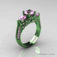 Classic 14K Green Gold Three Stone Diamond Light Pink Sapphire Solitaire Ring R200-14KGGGDLPS