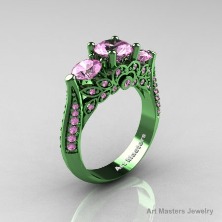 Classic-Green-Gold-Three-Stone-Light-Pink-Sapphire-Solitaire-Engagement-Ring-R200-GGLPS-P