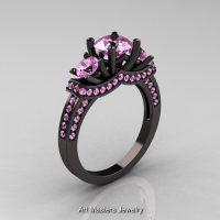 French 14K Black Gold Three Stone Light Pink Sapphire Wedding Ring Engagement Ring R182-14KBGLPS
