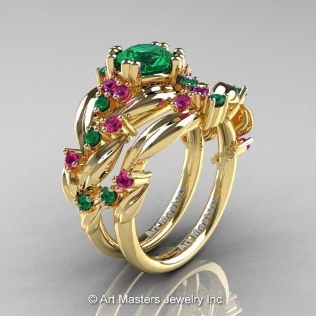 Nature-Inspired-14K-Yellow-Gold-1-0-Ct-Emerald-Pink-Sapphire-Leaf-and-Vine-Engagement-Ring-Wedding-Band-Set-R340SS-14KYGPSEM