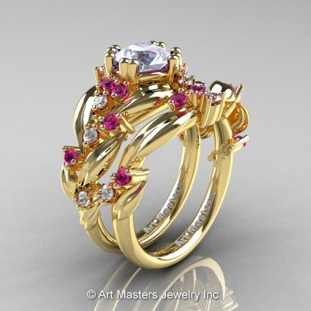 Nature-Inspired-14K-Yellow-Gold-1-0-Ct-White-Pink-Sapphire-Leaf-and-Vine-Engagement-Ring-Wedding-Band-Set-R340SS-14KYGPSWS-P