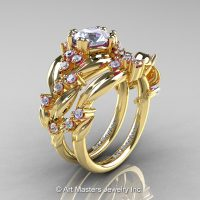 Nature Classic 14K Yellow Gold 1.0 Ct White Sapphire Diamond Leaf and Vine Engagement Ring Wedding Band Set R340S-14KYGDWS