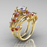 Nature Classic 14K Yellow Gold 1.0 Ct White Sapphire Ruby Diamond Leaf and Vine Engagement Ring Wedding Band Set R340S-14KYGDRWS