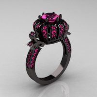 Classic 14K Black Gold 1.0 CT Pink Sapphire Crown Solitaire Bridal Ring Y303C-14KBP