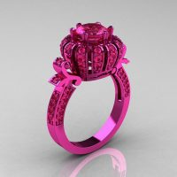 Classic 14K Pink Gold 1.0 CT Pink Sapphire Crown Solitaire Bridal Ring Y303C-14KP