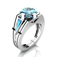 Mens Modern 14K White Gold 4.0 Ct Princess and Triangle Blue Topaz Wedding Ring A1006M-14KWGBT