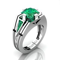 Mens Modern 14K White Gold 4.0 Ct Princess and Triangle Emerald Wedding Ring A1006M-14KWGEM
