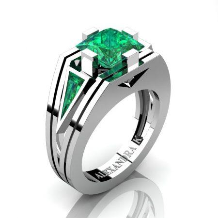Mens-Modern-14K-White-Gold-4-0-Carat-Princess-and-Triangle-Emerald-Wedding-Ring-A1006M-14KWGEM-P