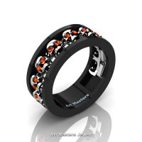 Mens Modern Black 925 Sterling Silver Orange Sapphire Skull Channel Cluster Wedding Ring R913-925SSBWOS