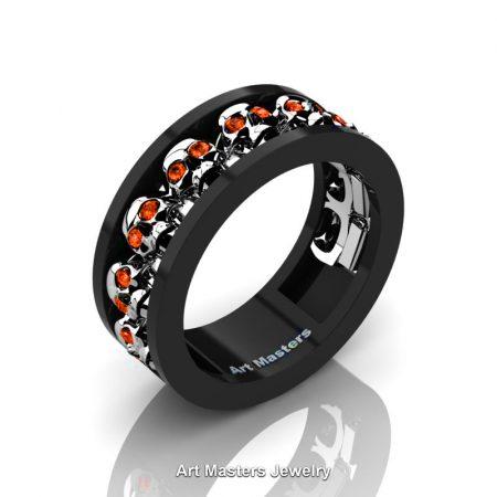 Mens-Modern-Black-925-Sterling-Silver-Orange-Sapphire-Skull-Cluster-Wedding-Ring-R913-BW925SSOS-P