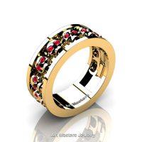 Mens Modern Gold Vermeil Ruby Skull Channel Cluster Wedding Ring R913-GVR