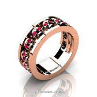 Mens Modern Rose Gold Vermeil Ruby Skull Channel Cluster Wedding Ring R913-RGVR