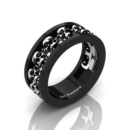 Womens-Modern-Black-925-Sterling-Silver-Black-Diamond-Skull-Cluster-Wedding-Ring-Ring-R913F-BW925SSBD-P